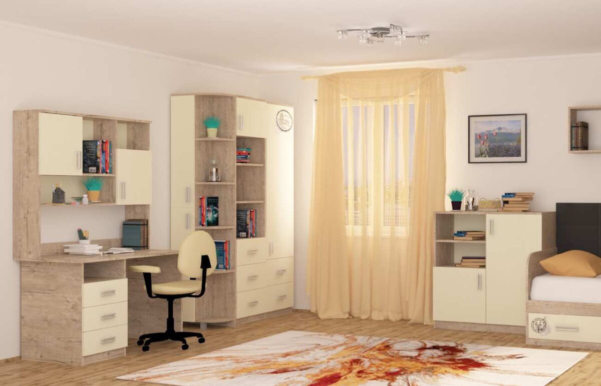 интерьер детской комнаты со столом шкафом комодом