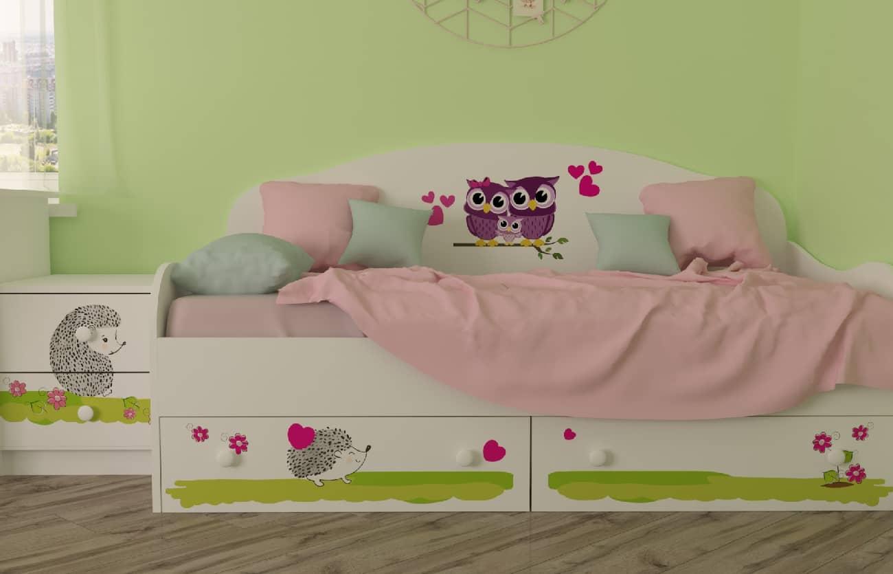 детская комната совушки с кроватью