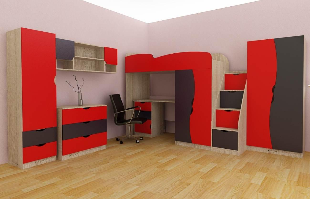 Детская комната Подростковая красная