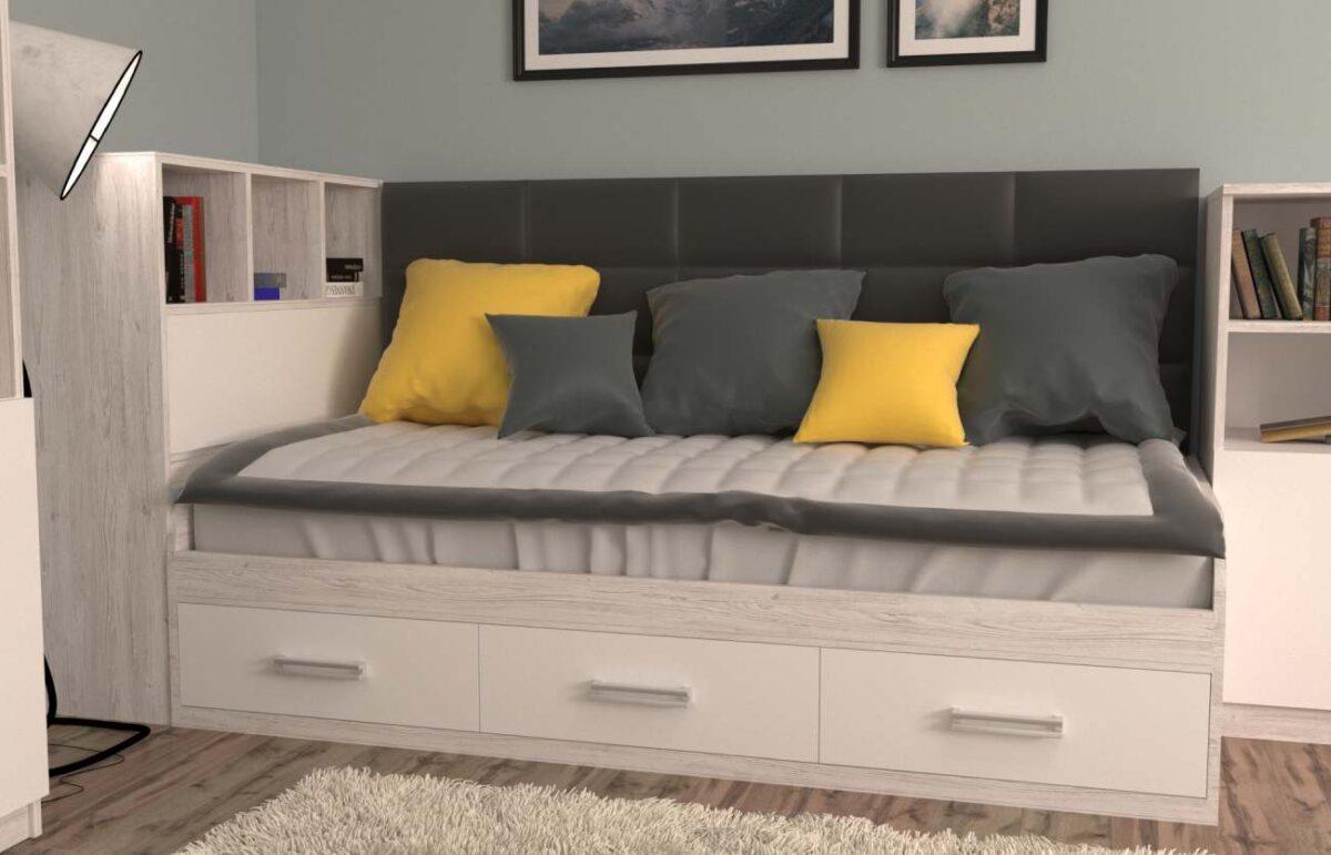 кровать с 3 ящиками аляска с полками