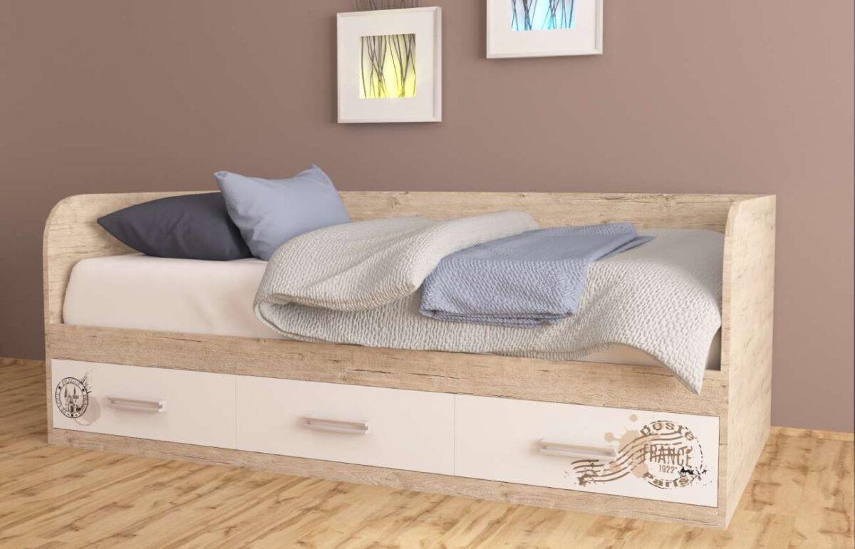 кровать с 3 ящиками шервуд с рисунком