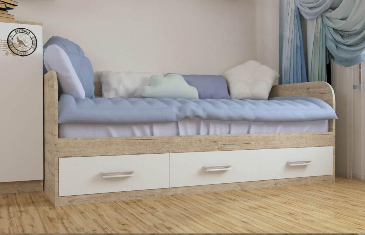 кровать с 3 ящиками и белыми фасадами