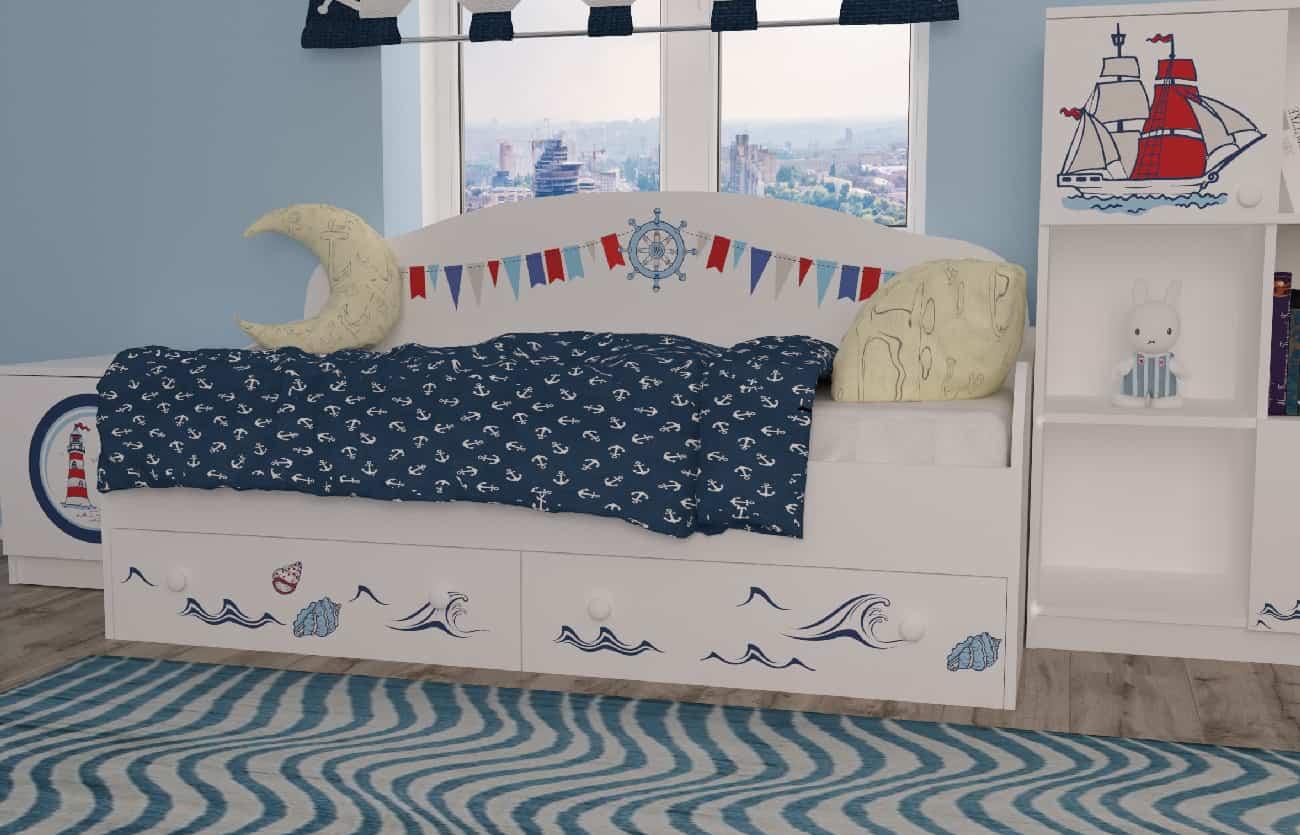 Ліжко диванчик кораблик в кімнаті