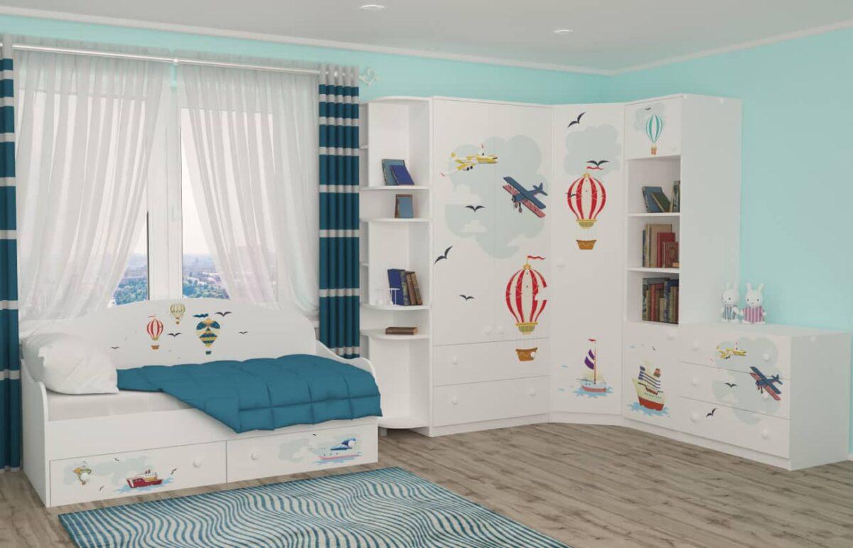 Дизайн детской с кроватью и шкафом