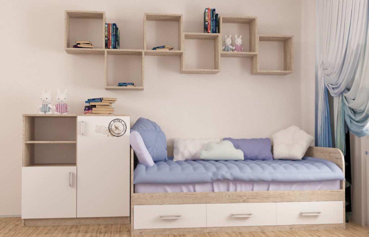 интерьер детской комнаты с кроватью комодом и полками