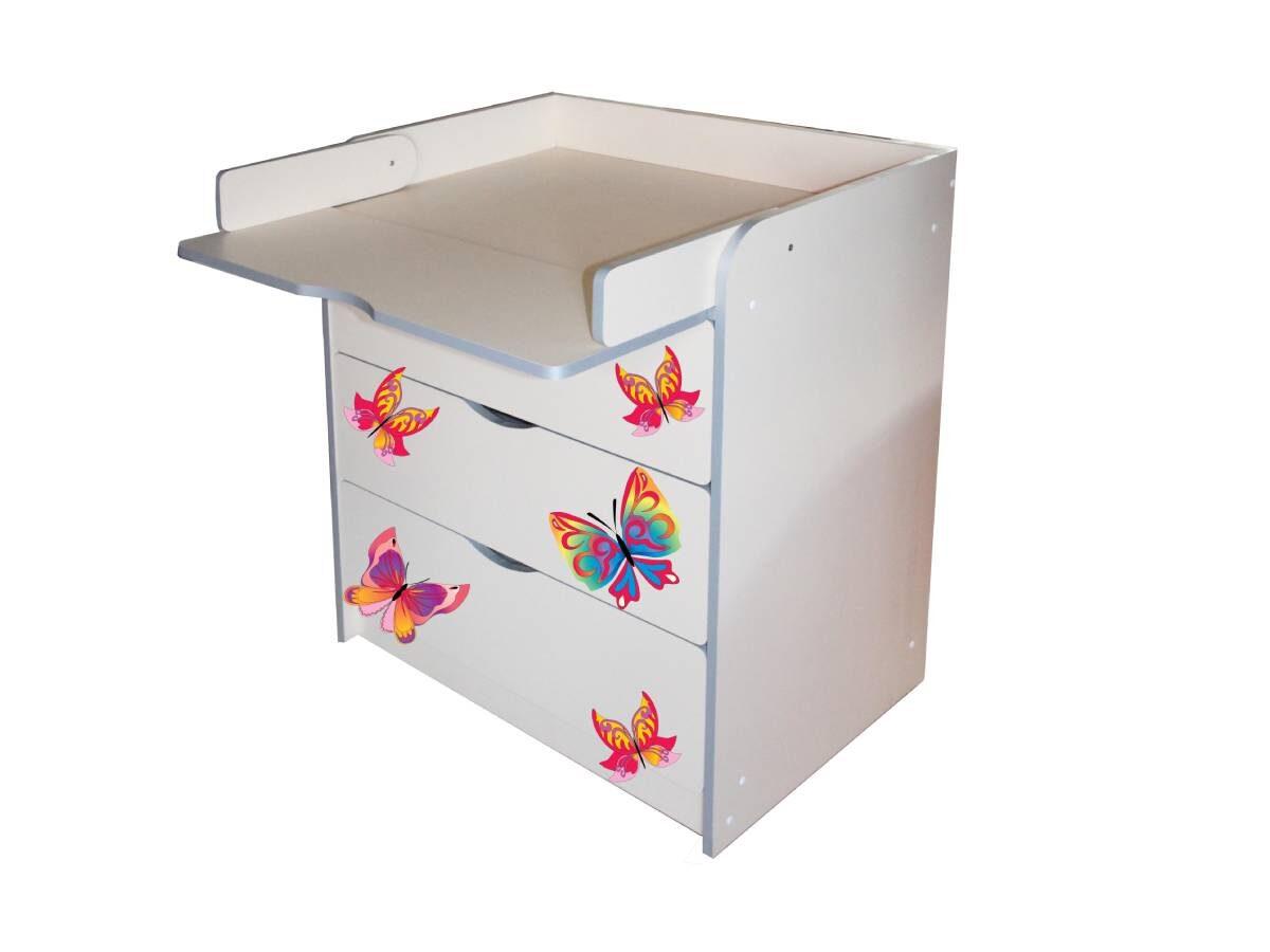 пеленальный комод с бабочками и открытым столом