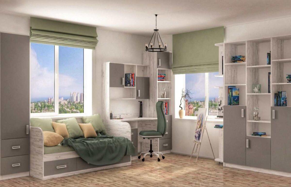 подростковая комната в цвете антрацит с рисунком
