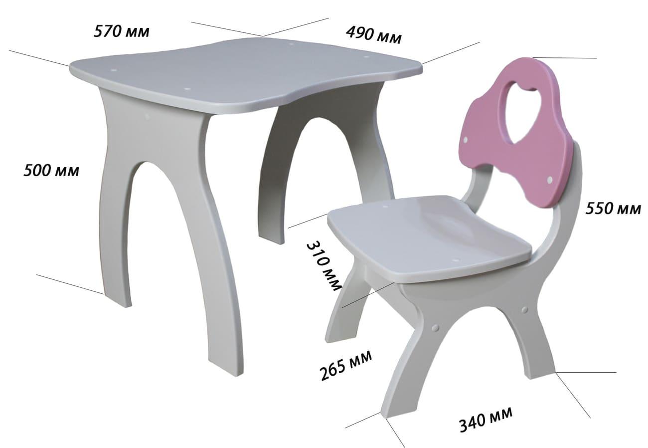 размеры стола и стульчика