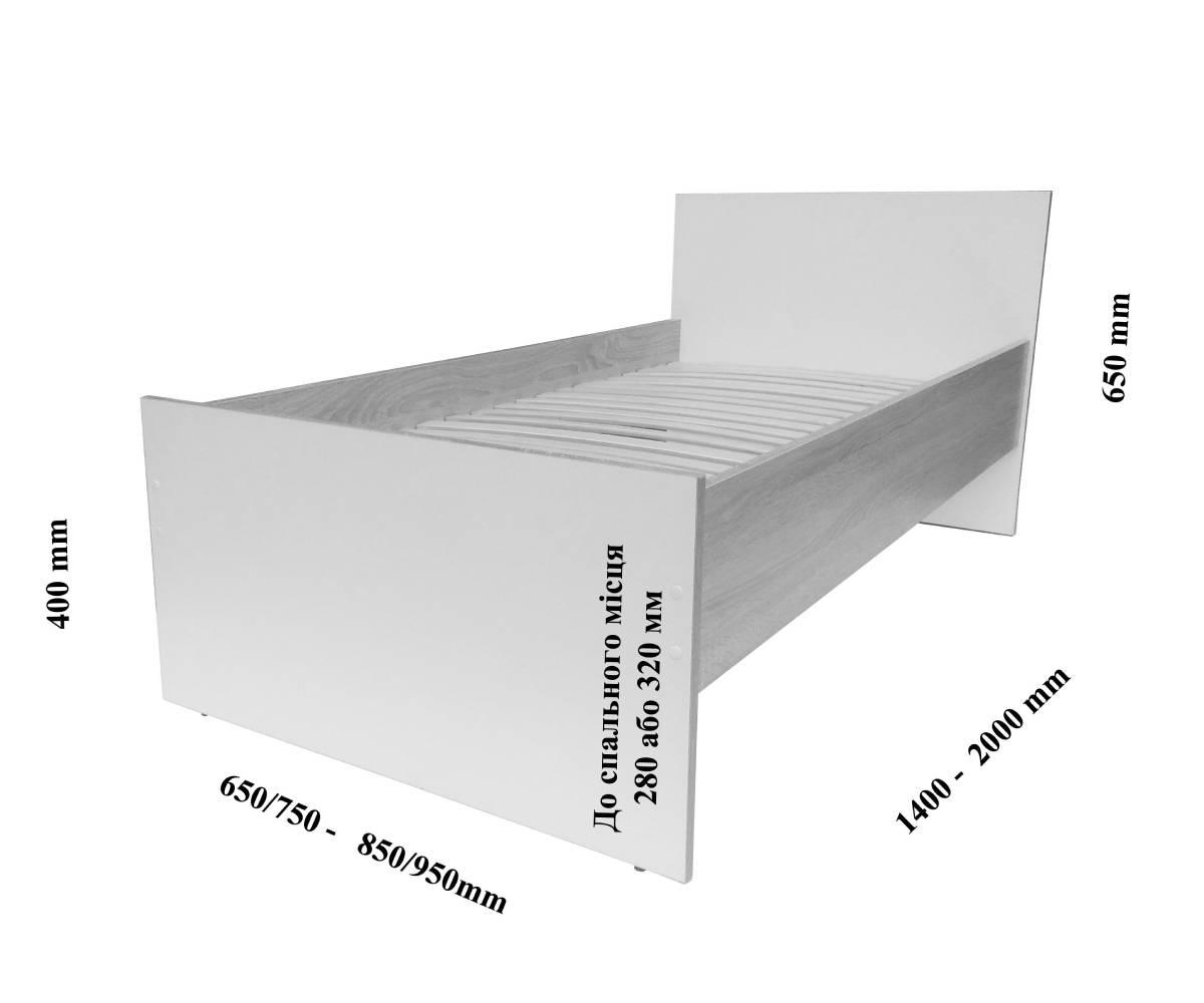 Схема размеров кровати Эко