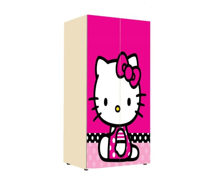 шкаф китти розовый на 2 двери