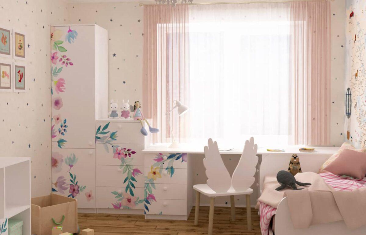 мебель в детскую у окна цветы