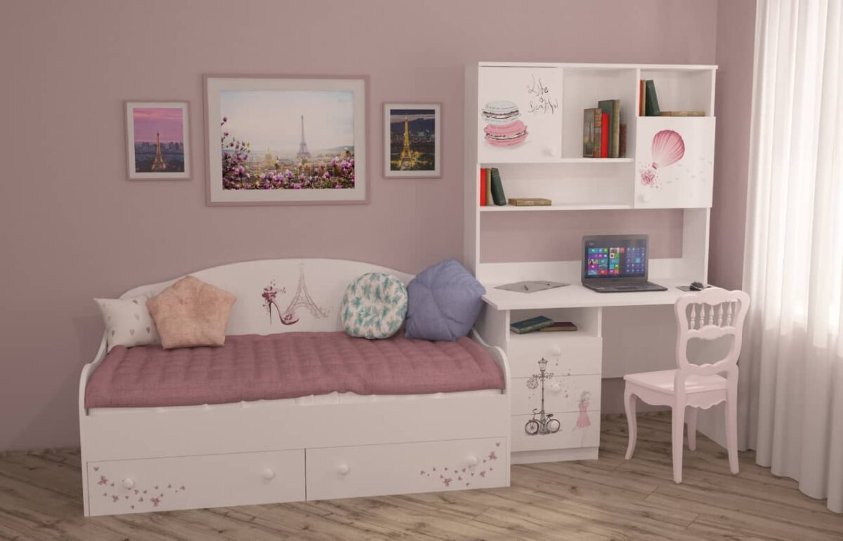 стол и кровать Париж в интерьере