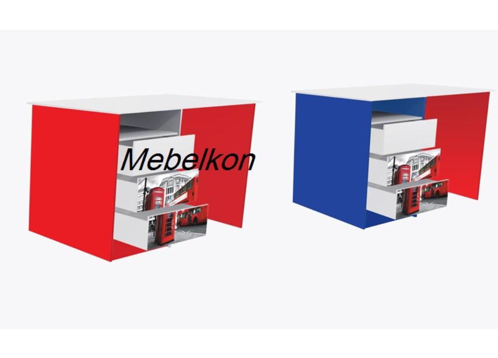 стол с 3 ящиками англия красный и синий