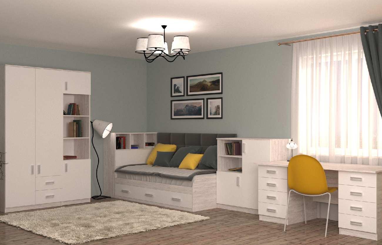 подростковая комната со шкафом столом кроватью