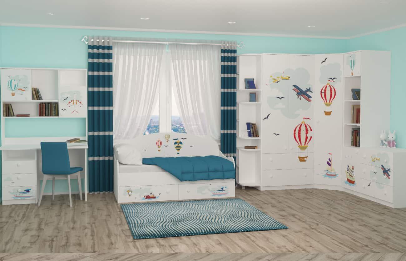 Дизайн детской с кроватью, столом и шкафом