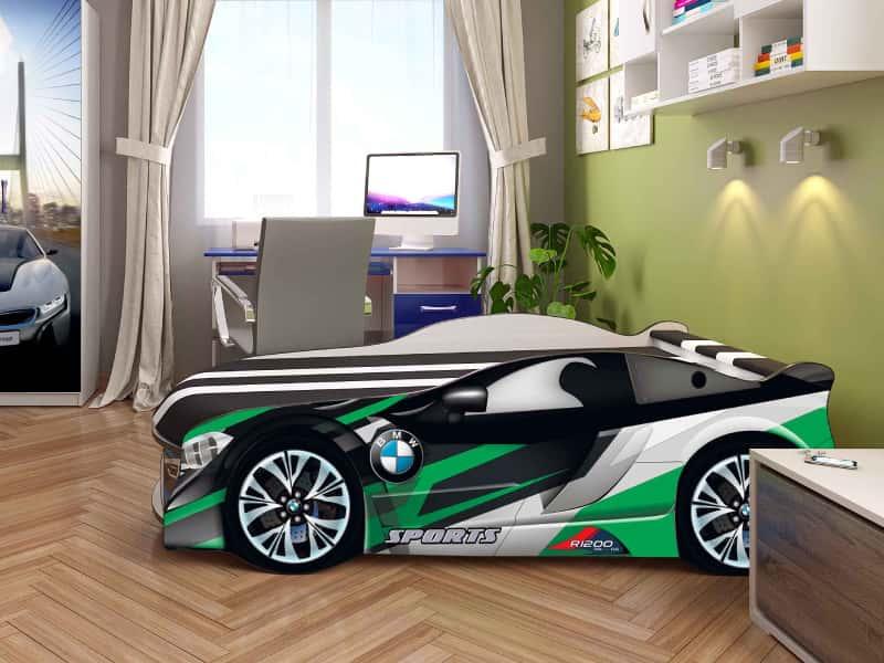 кровать машинка бмв космос белая с зеленым