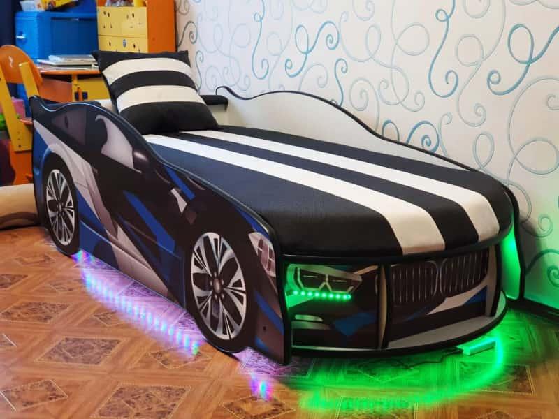 кровать машинка бмв космос синяя с подсветкой