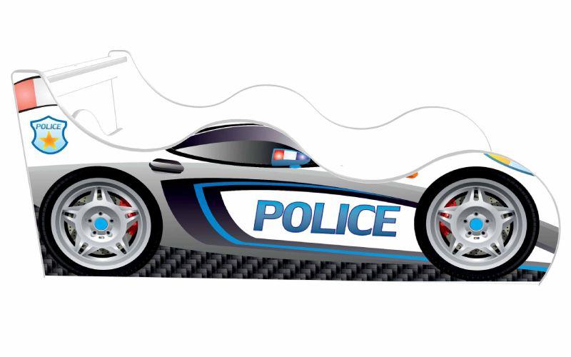 Кровать машина Полиция Белая