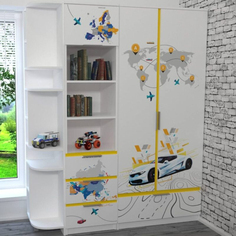 детская мебель в 1 стиле белая с желтым