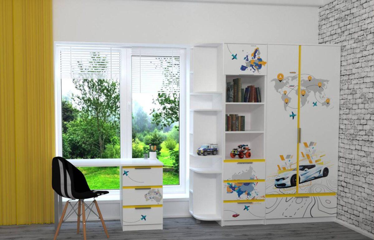 детская мебель в 1 стиле ауди желтая