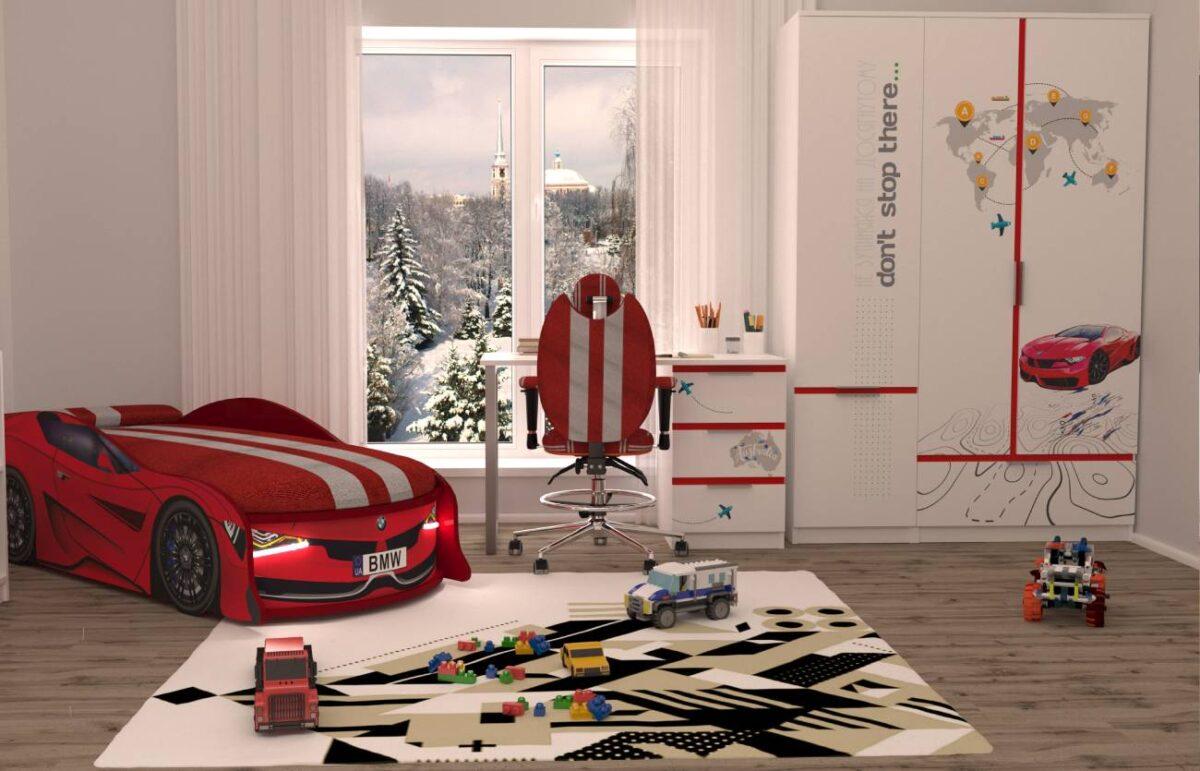 кровать машина бмв красная турбо