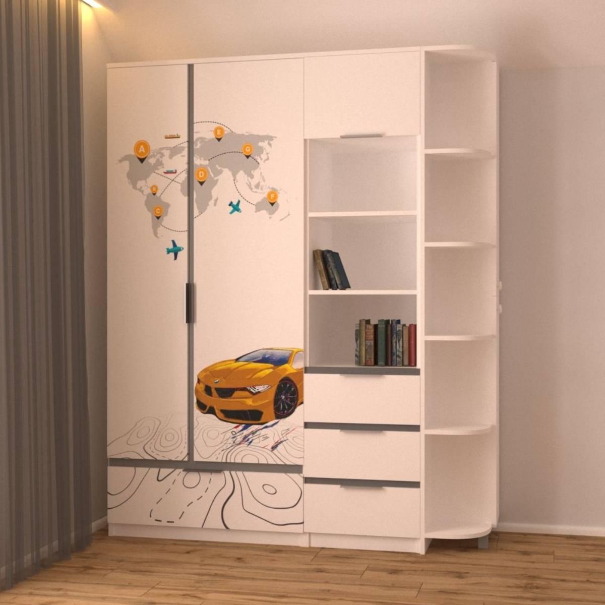 шкаф пенал эркер в деткой комнате