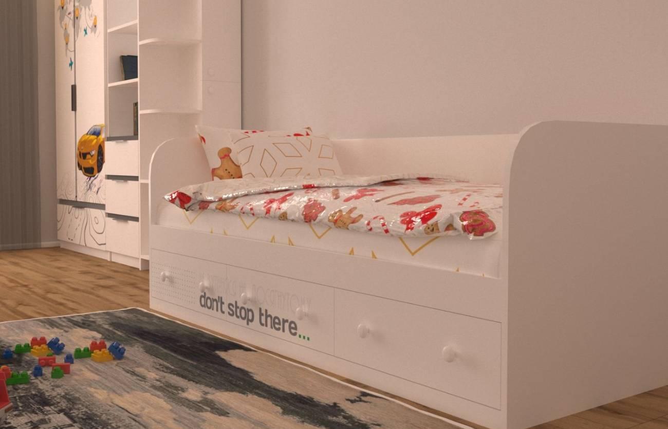 кровать спорт детская с 3 ящиками
