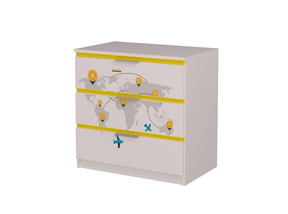 детский комод карта мира желтый