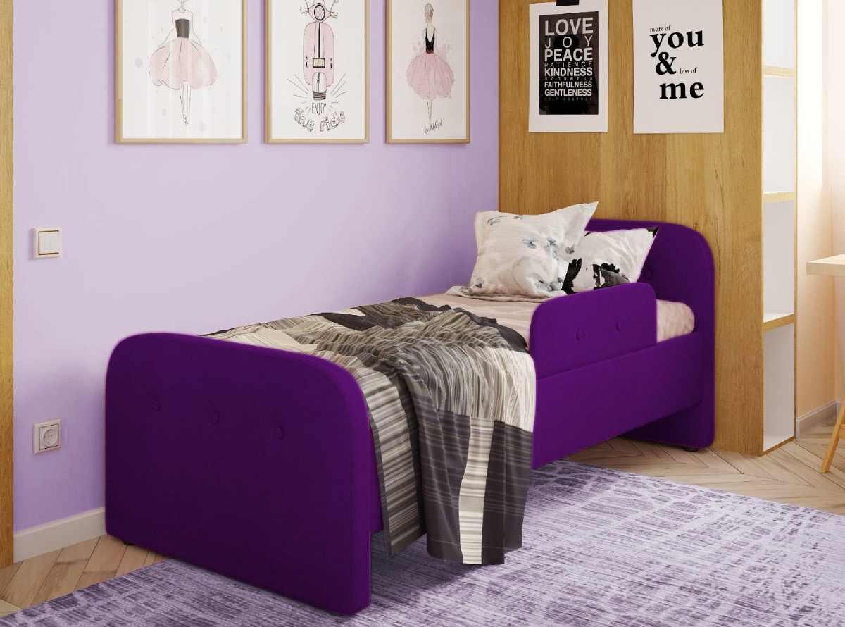 детская кровать тедди фиолетовая