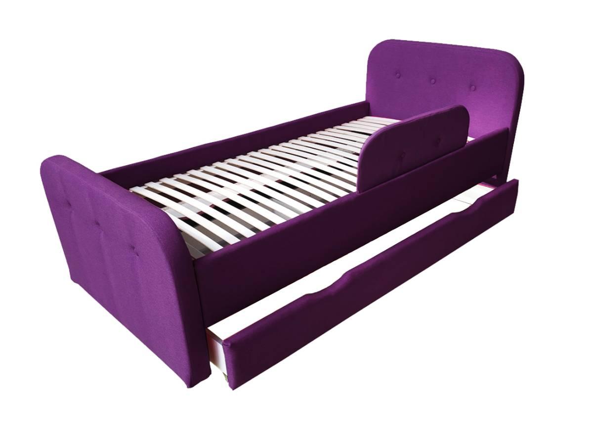 детская кровать тедди фиолетовая с ящиком