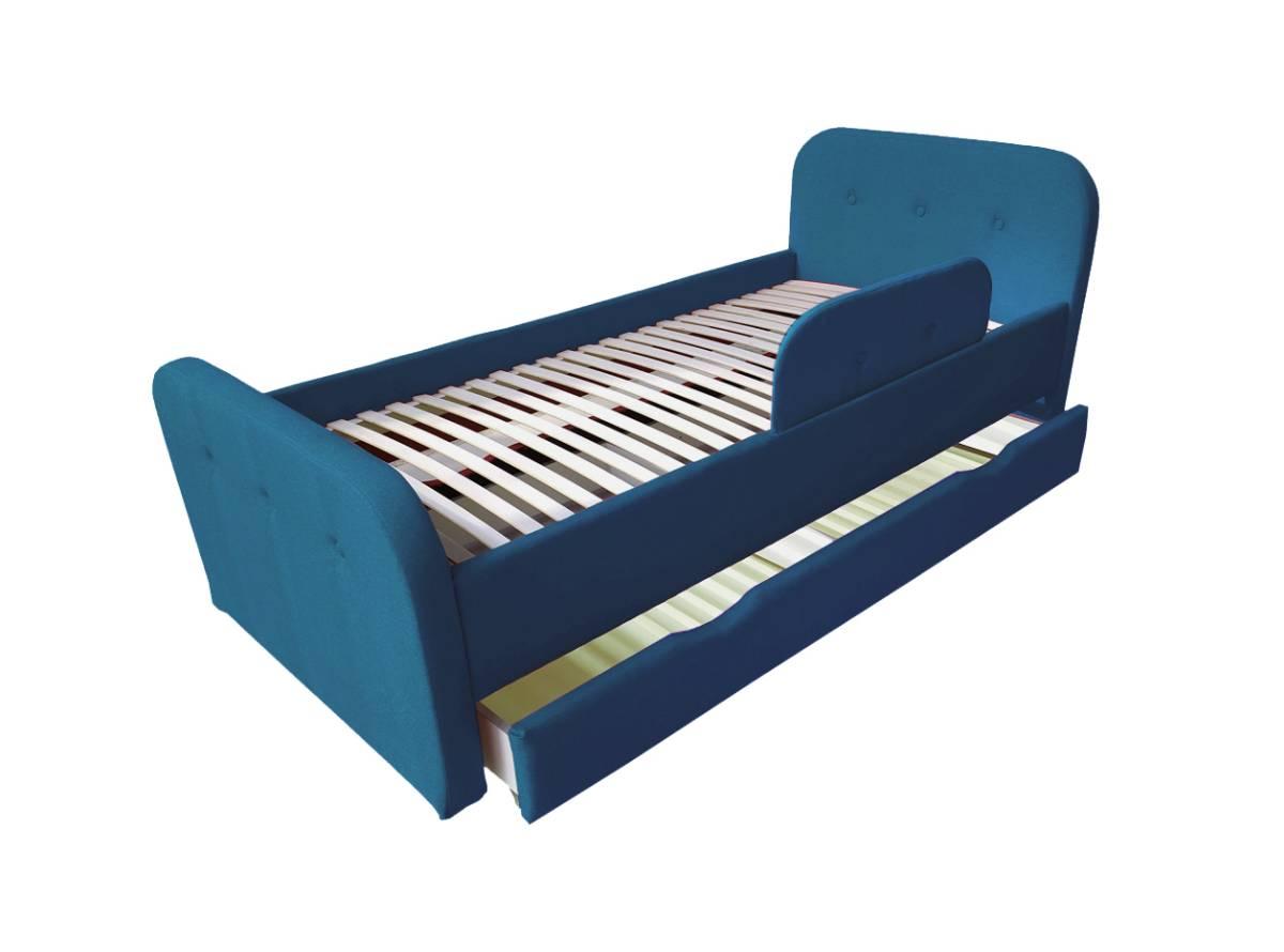 детская кровать тедди синяя с ящиком