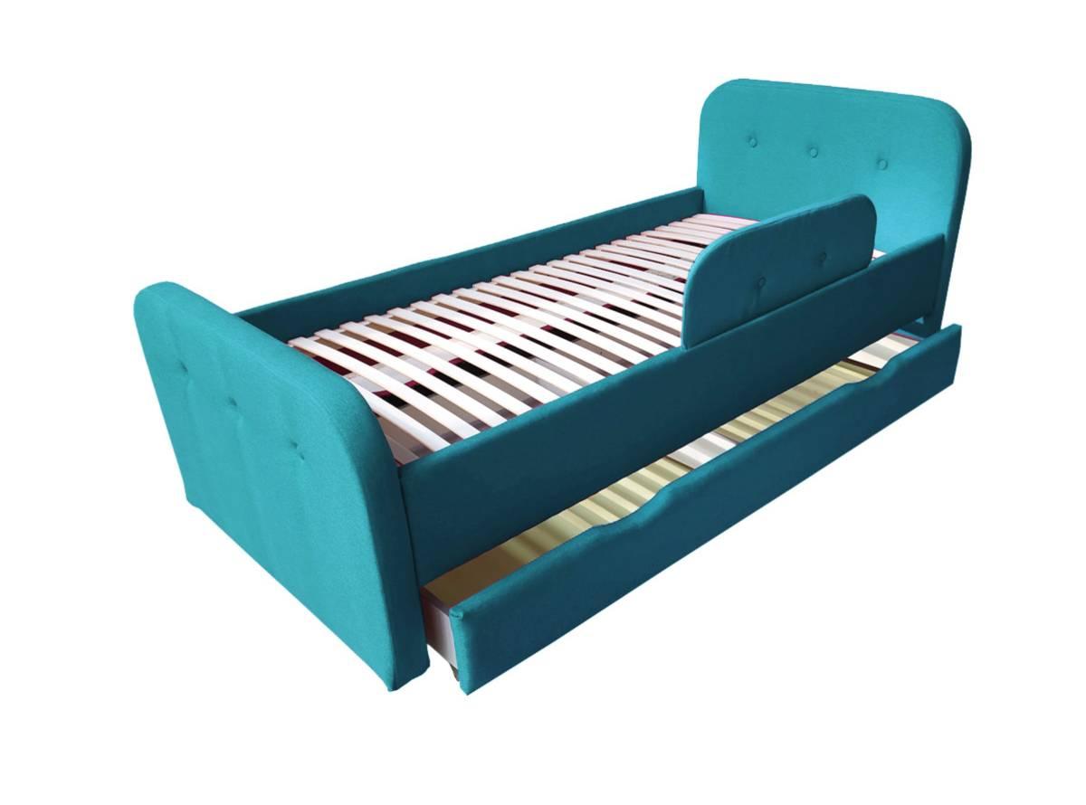 детская кровать тедди голубая с ящиком