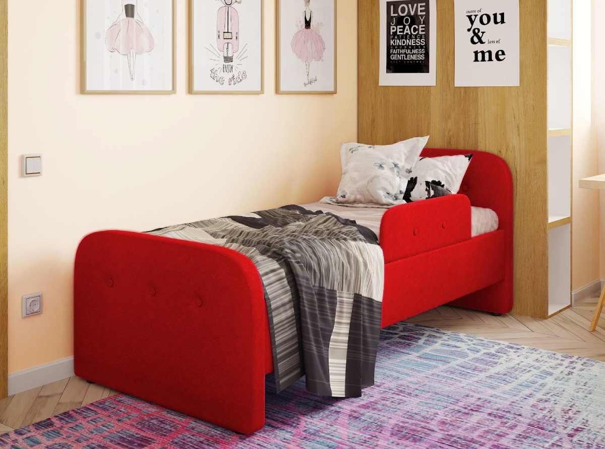 детская кровать тедди красная с бортиком
