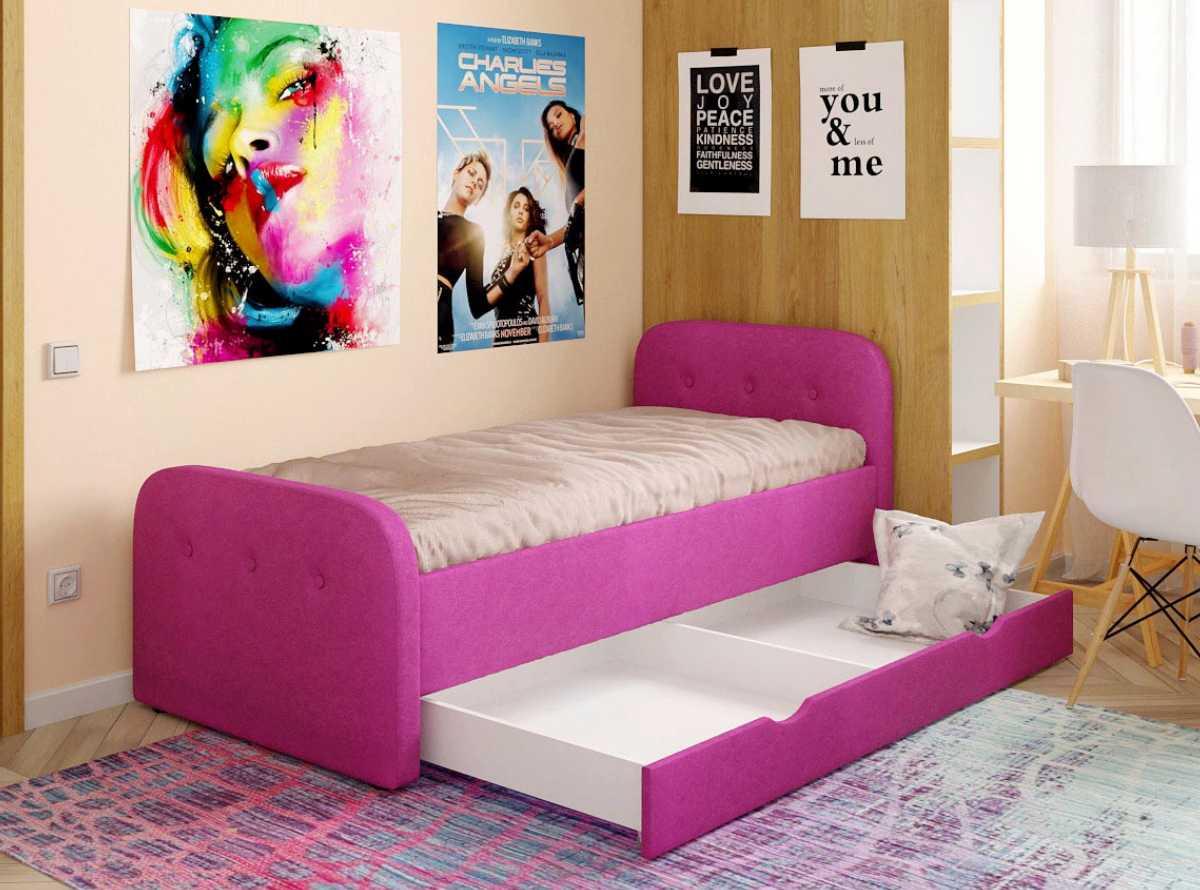 детская кровать тедди розовая с ящиком