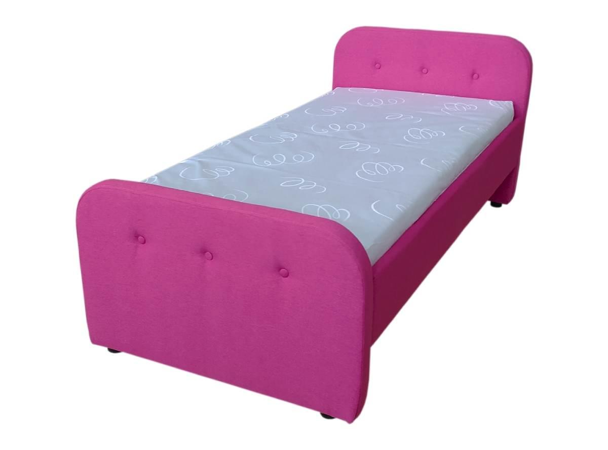 детская кровать тедди розовая с матрасом сбоку