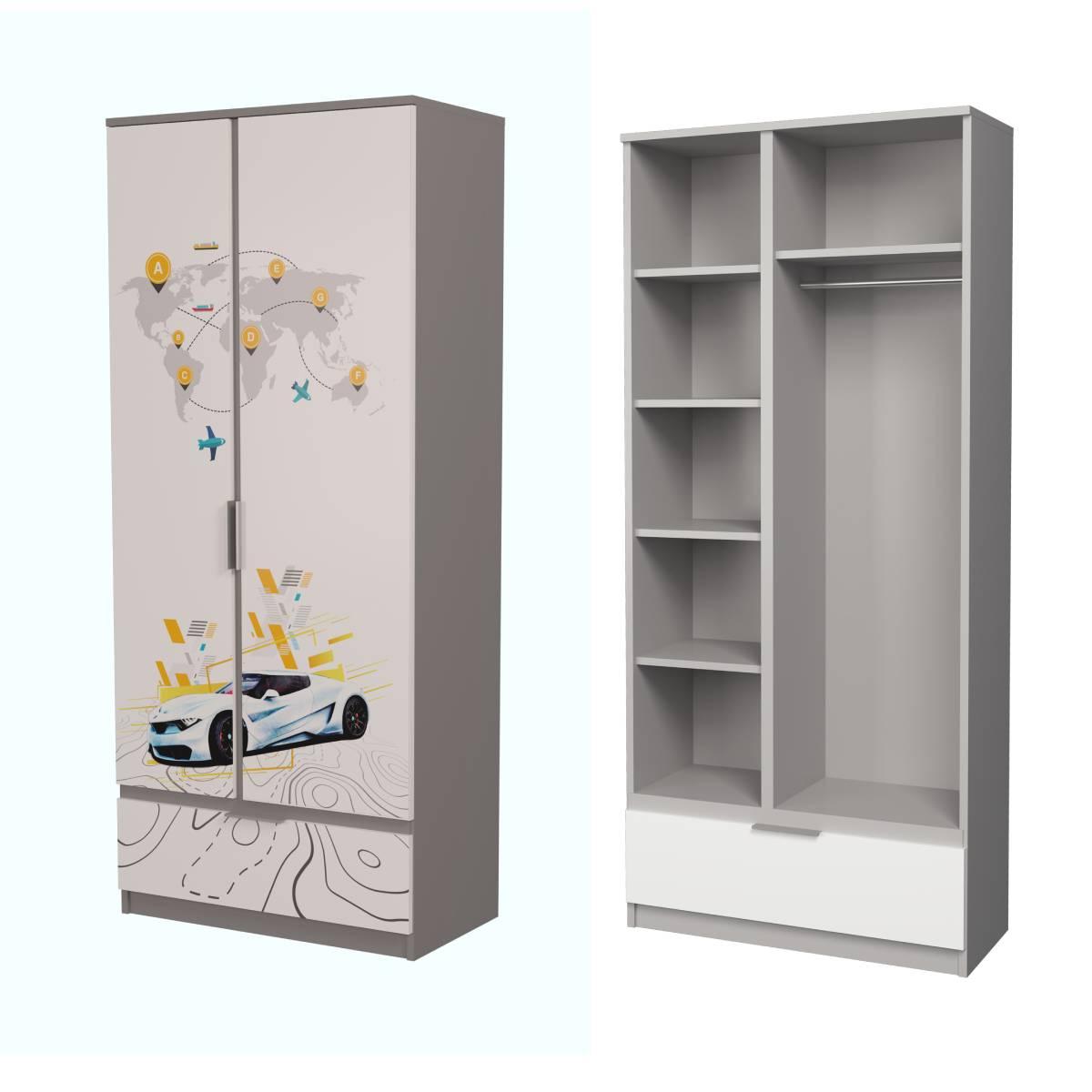 Детский шкаф ауди алюминий белая