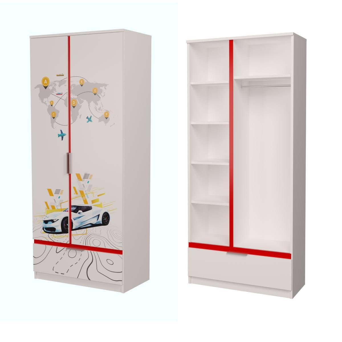 Детский шкаф бмв белый с красным