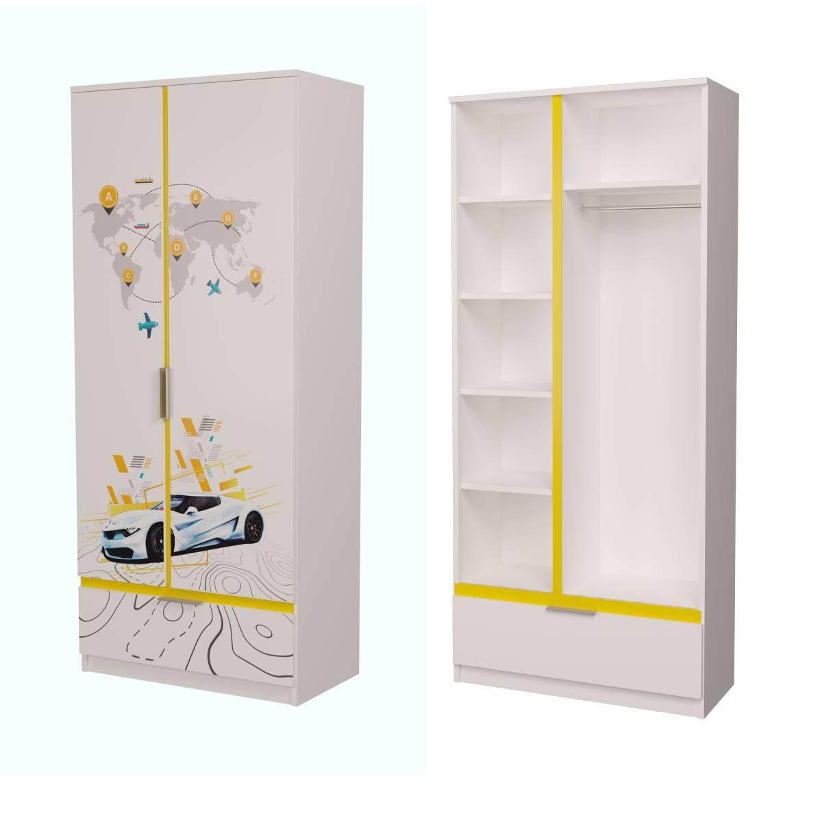 Детский шкаф бмв белый с желтым