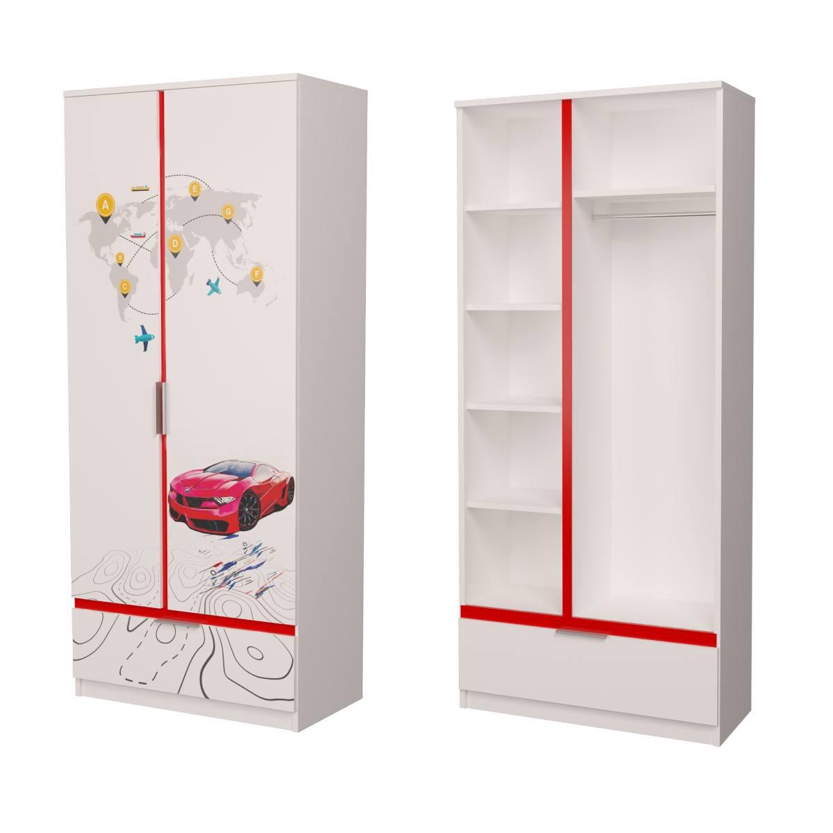 Детский шкаф бмв красный