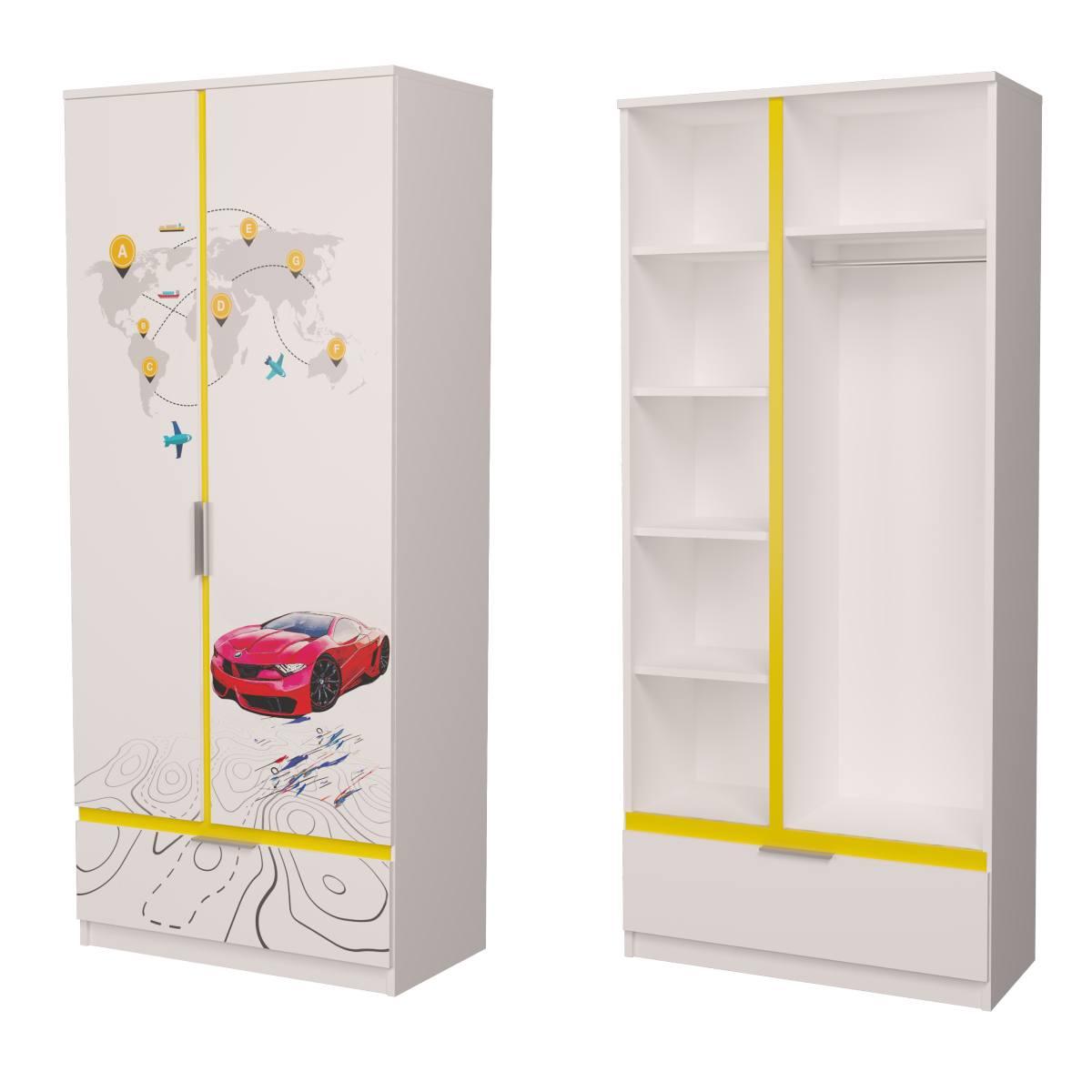 Детский шкаф бмв красный с желтым