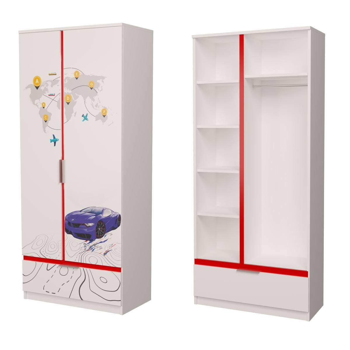 Детский шкаф бмв синий с красным