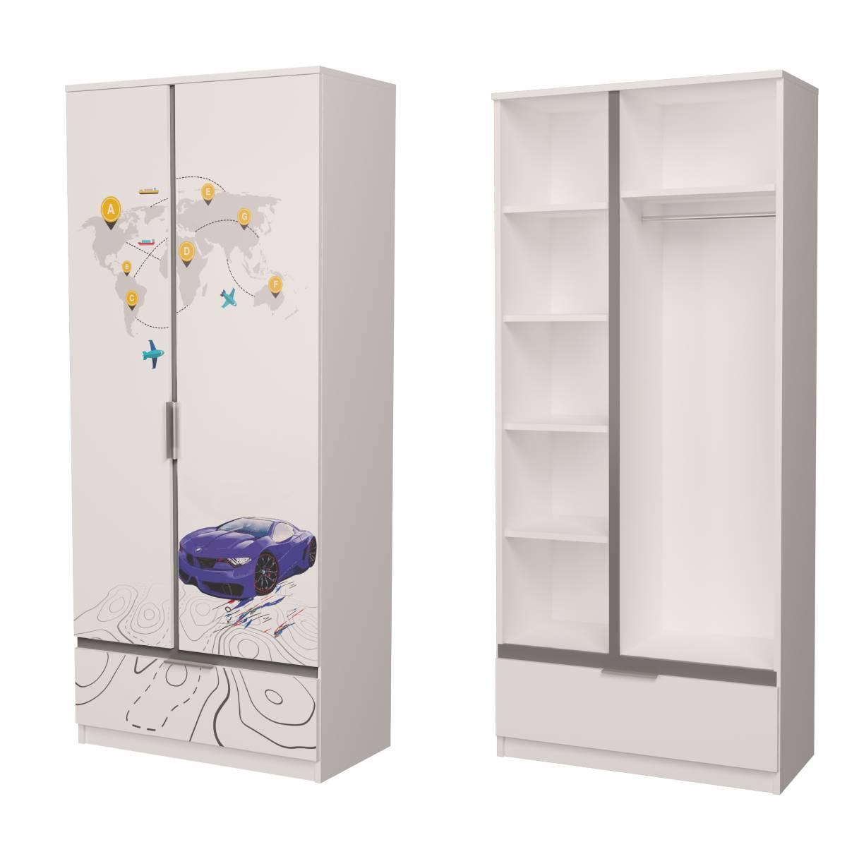Детский шкаф бмв синий с серым