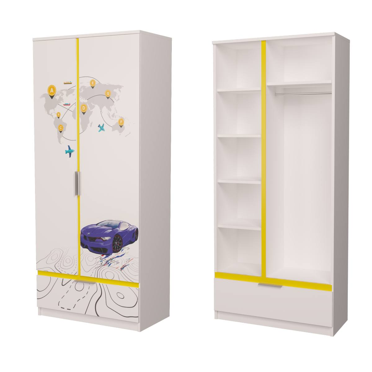 Детский шкаф бмв синий с желтым