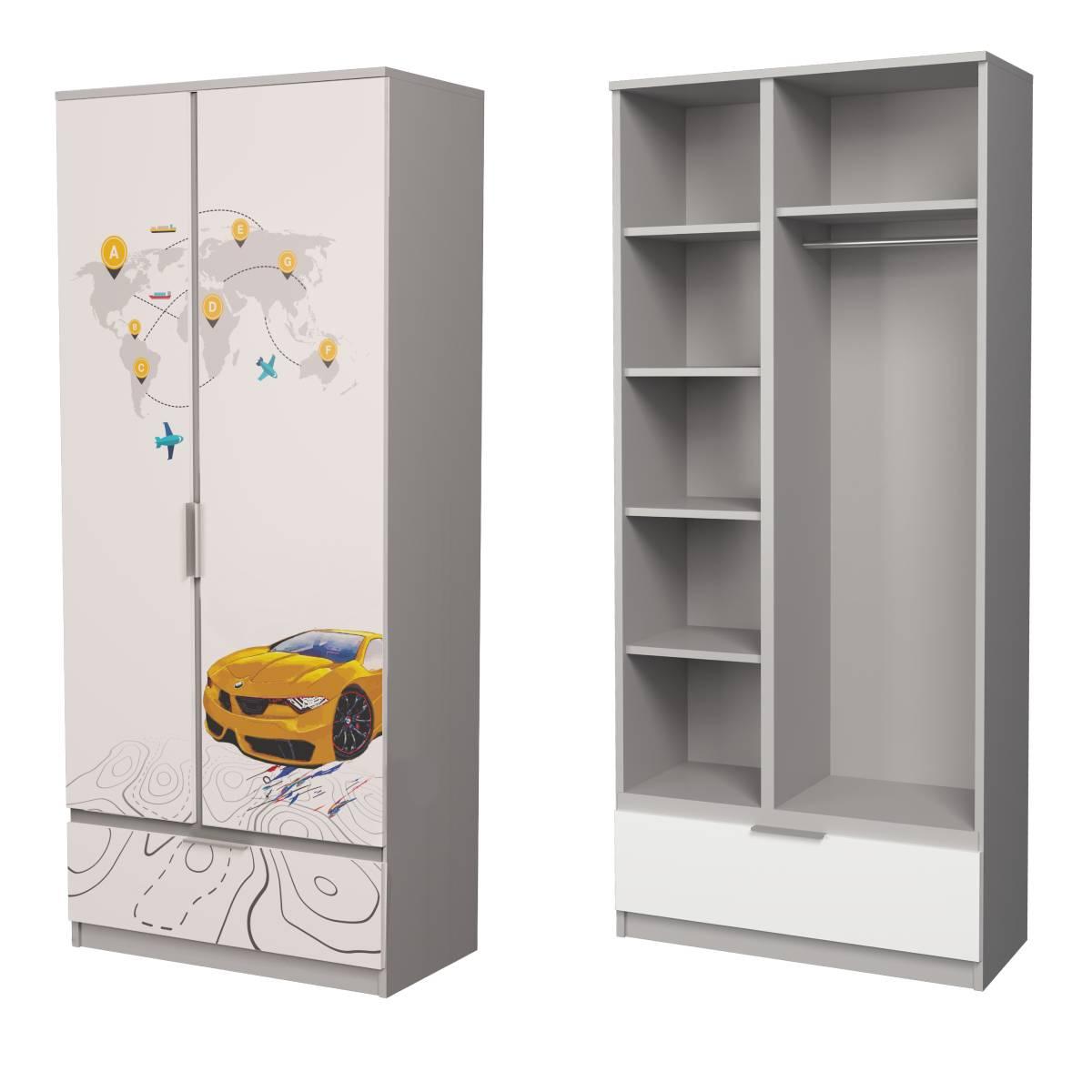 Детский шкаф алюминий бмв желтый