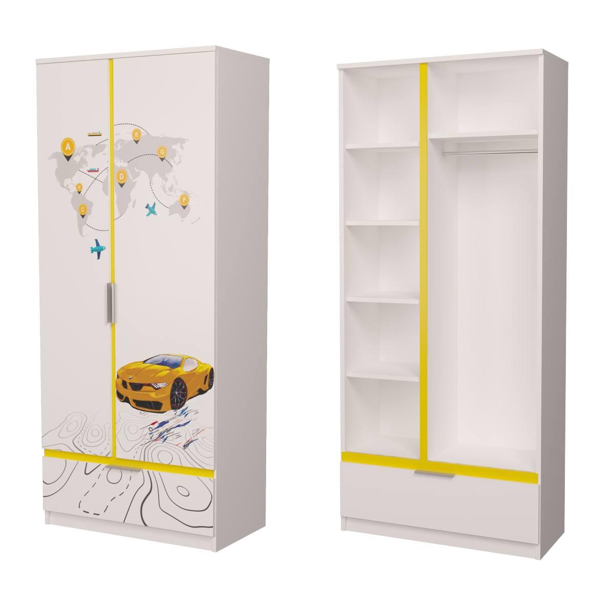 Детский шкаф бмв желтый