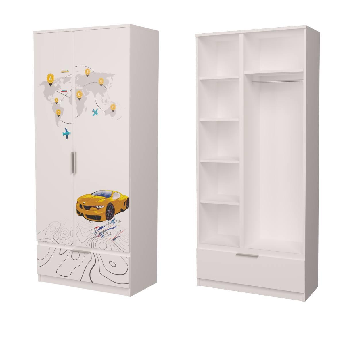Детский шкаф бмв желтый с белым
