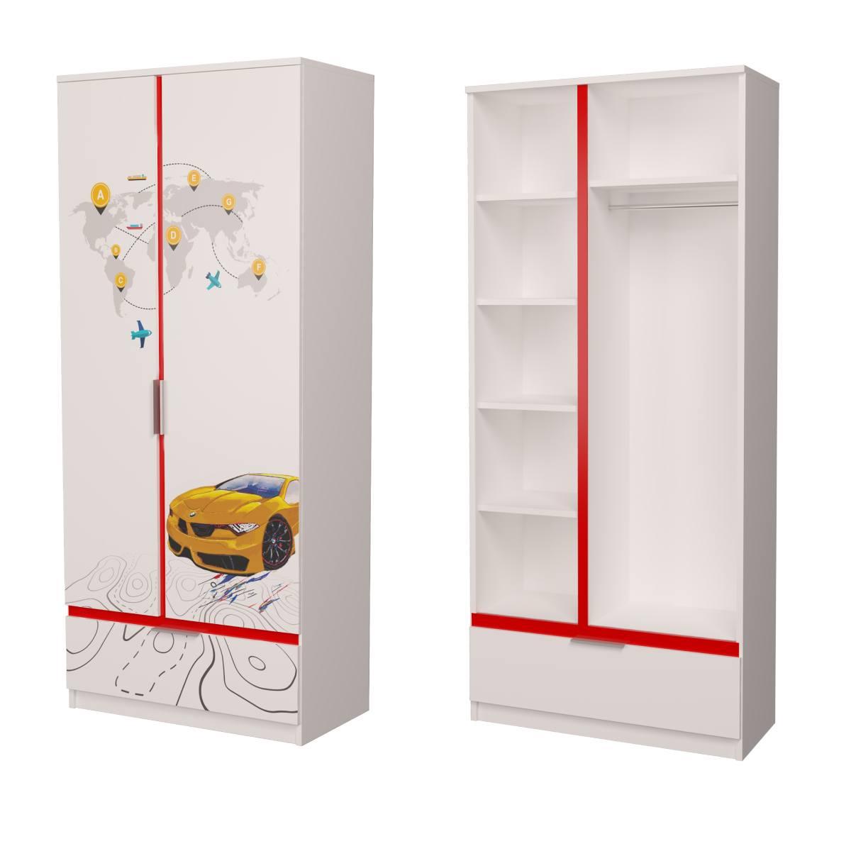 Детский шкаф бмв желтый с красным