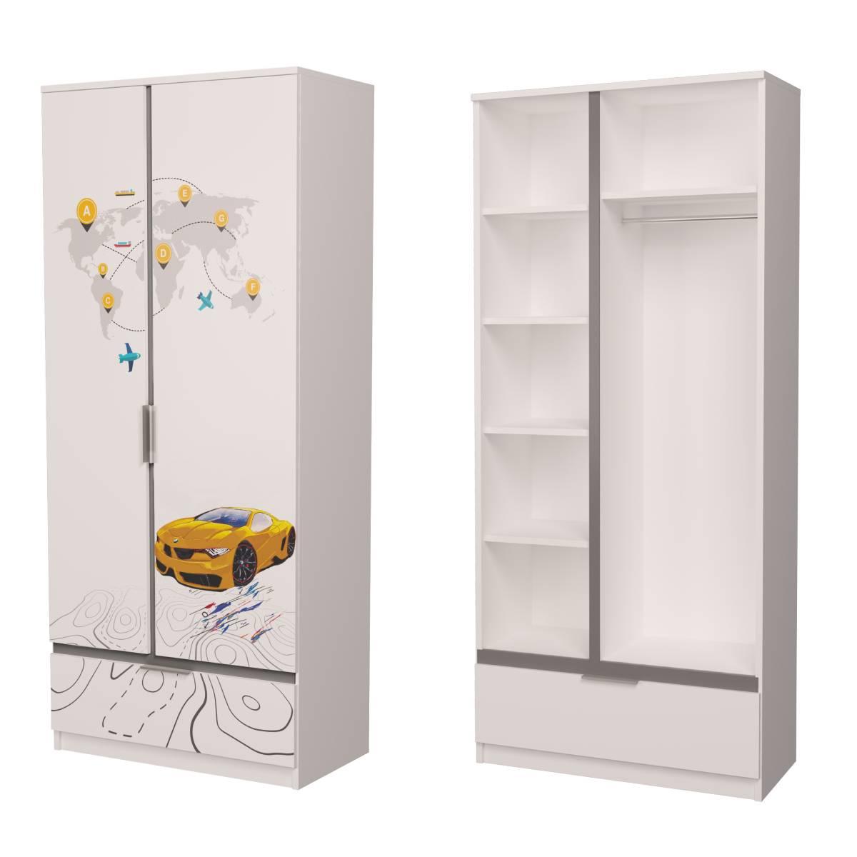 Детский шкаф бмв желтый с серым