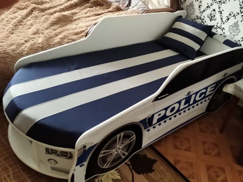 кровать машина полиция премиум белая
