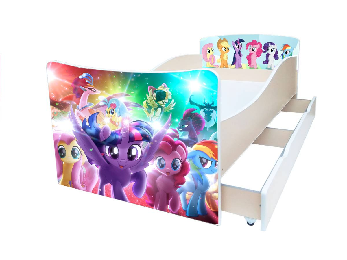детская кровать киндер my-little-pony фиолетовые